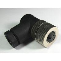 科迎法M12孔型弯头连接器,母头圆形连接器接插件,现场自接线/总线航空接插件