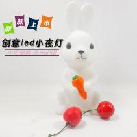 新款发光创意礼品卡通兔子led小夜灯 pvc家居装饰亲子互动儿童小玩具