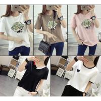 2018春夏季外贸单韩版女式服装批发 库存女装杂款短袖纯棉T恤厂家一手货源