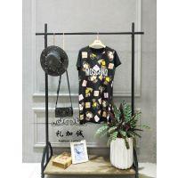 杭州纯棉长款T恤莎莎品牌女装折扣店加盟货源拿货