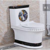 欧式低水箱彩金贴花高档连体陶瓷座便器马桶