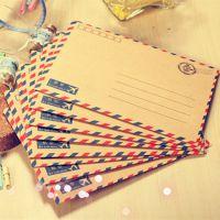 韩国可爱复古航空款信封信纸 长款西式明信片信封 可邮寄8个