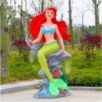 东莞雕塑厂家/玻璃钢彩绘工艺品/美人鱼雕塑/咨询美人鱼价格与定制