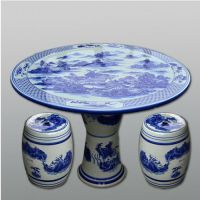 定制景德镇陶瓷粉色桌凳手绘陶瓷桌凳套装