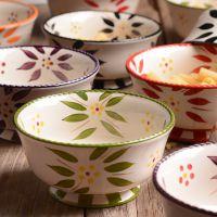 创意陶瓷餐具条纹树叶碗手绘陶瓷盘子家用米饭碗送礼礼品外贸批发