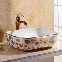 高档台上新款彩金大容量陶瓷洗脸盆艺术盆