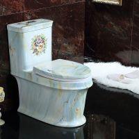 家装陶瓷卫生间高档欧式蓝色新款简约座便器马桶