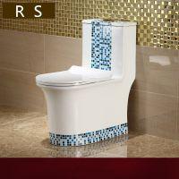 高端畅销新款蓝色连体彩金洁具地排式卫浴马桶座便器