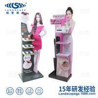 供应化妆品促销展柜高强瓦楞纸板立式展示架彩妆类展示货架可定制