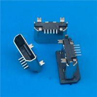 MICRO USB 180度立式贴片母座 5PIN B型立式SMT母座 两个鱼叉脚 (2)