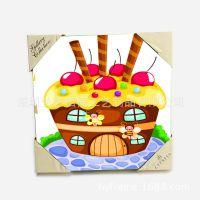 【蛋糕屋】可爱卡通 帆布画 出口超市游乐场挂画 厂家直销 儿童画 动感画
