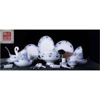 正德陶瓷 碗碟套装家用中式骨瓷 景德镇餐具高档青花瓷盘子瓷器