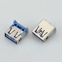 供应USB连接器母座 USB3.0 AF母头 90度鱼叉型SMT贴片铜JDR