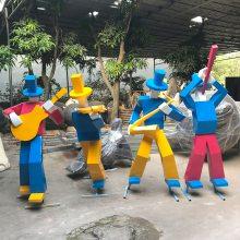 公园广场草地景观装饰摆件抽象音乐人物 欧式乐器组合人物雕塑