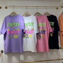 广州哪里有几块钱女装上衣T恤纯棉T恤圆领印花短袖清货2元服装批发