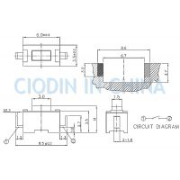SOFNG TS-1101U 外形尺寸:3.0mm*6.0mm*4.3mm