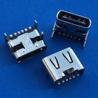 TYPE-C 3.1 4脚插板90度插板DIP 6P大电流 无后盖 黑色胶芯