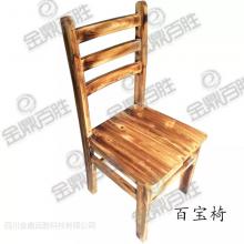鑫百胜柴火鸡灶百宝餐桌椅家用商用靠背实木椅子现代简约碳化木风格
