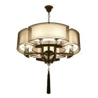 中式创意简约布罩客厅卧室吊灯 新款铁艺吊灯