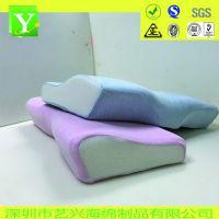 蓝粉色长方形记忆棉枕头 高低慢回弹枕头厂家