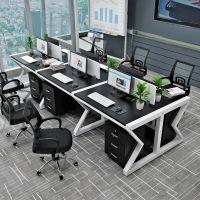现代简约钢木单人多人位办公桌造型电脑桌组合公司职员会议培训桌