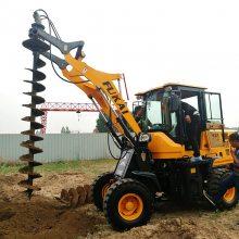 铲车挖坑机 电线杆打坑机 电线杆打眼机 装载机改装打坑机 洪涛电力