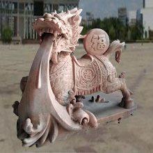 石雕麒麟晚霞红门口镇宅风水麒麟摆件一对曲阳万洋雕刻厂家定制