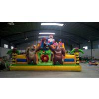 气垫滑梯蹦床整套价格 气堡滑滑梯小孩充气玩具 大型150平米充气蹦床定制