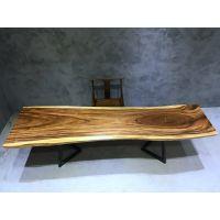 胡桃木会议桌简约大型长条桌实木桌工业风桌铁艺长桌办公桌家具