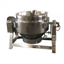 强大300L电加热可倾斜熬煮锅方便出料夹层锅304不锈钢锅