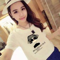 2018夏季新款女式T恤 韩版时尚休闲白色圆领印花女装短袖T恤 地滩货源批发