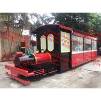 景区售货亭双层巴士售卖车红色火车头贩卖花车小吃车