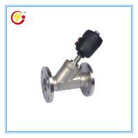 直销优质不锈钢常闭Y型法兰气动阀 双作用耐腐蚀气动角座阀