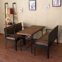 铁艺复古LOFT工业风咖啡厅桌椅组合奶茶店酒吧甜品店卡座沙发椅