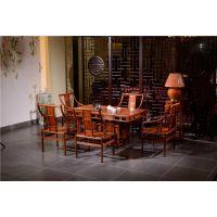 中式茶桌供应-功夫茶桌批发-如金红木茶台桌椅6件套组合古典中式家具
