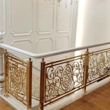 扶摇直上玫瑰金铝板雕刻镂空旋转楼梯护栏