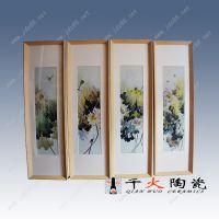 泼彩荷花创意四条屏瓷板画 景德镇高档手绘加工定做价格