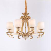 全铜新中式吊灯9081新款别墅复式酒店餐厅现代中式纯铜客厅灯吊灯