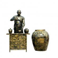 铸铜巨型大酒罐卖酒壮汉雕像酒文化雕塑摆件大型酒缸品酒摊贩人物玻璃钢铜塑像酒厂博物馆摆件