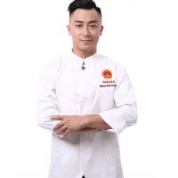 天河区定制白色套装厨师服,定制上衣加围裙厨师服套装,免费刺绣logo