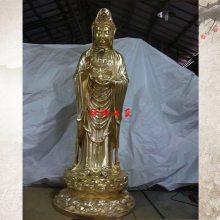供应纯铜观音菩萨站像彩绘观世音菩萨佛像铜善财童子龙女像
