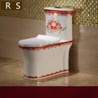 新款欧式彩金卫浴陶瓷连体高档座便器马桶