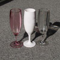 厂家直销6oz高脚塑料香槟杯PC透明红色塑料高脚杯杯身可定制LOGO