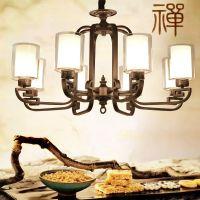 新款新中式高档大气古铜色铁艺玻璃吊灯 创意灯具
