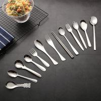 创意304不锈钢勺子筷子汤勺不锈钢西餐餐具套装促销可定制logo