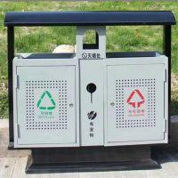 河北绿美供应环卫垃圾桶分类双桶 垃圾箱 环保钢木垃圾筒生产厂家