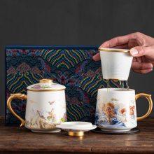 厂家专业定做会议茶杯 高档骨瓷茶杯三件套 会议办公杯加字定制