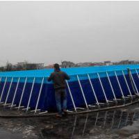 支架游泳池设备投资它生意好吗 商业景区摆的钢架水池定做 水滑梯移动支架水池