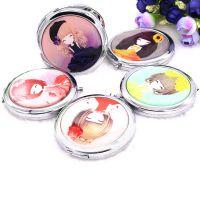 花花姑娘金属化妆镜 现货图案可定制logo 创意折叠小镜子