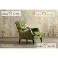 上海韩尔LOFT品牌家具 SH-03西餐厅皮制沙发 西餐厅实木桌椅订制